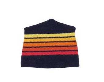 Vintage 70s Striped Wool Beanie Size L