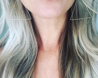 Geometric Earrings, Triangle Earrings, Minimalist Earrings Gold, Thin Silver Hoops, Gold Hoop Earrings, Unique Hoop Earrings, Silver Hoops