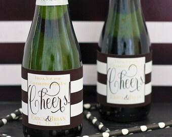 Wedding Mini Champagne Labels - Engagement Party Favors - Wedding Favors - Custom Mini Wine Bottle Labels - Personalized Mini Bottle Labels
