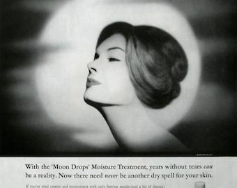 1963 Revlon Moon Drops Moisturizer Ad - 1960s Skincare Beauty Ads