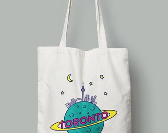 Toronto Planet Canvas Tote, Gift for Her, Funny Gift for Girlfriend, Book Bag for Student, Gift for Him, Market Tote