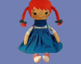 Heirloom cloth doll red hair ginger doll with pigtail blue dress doll soft stuff custom textile fabric doll birthday plush doll baby shower