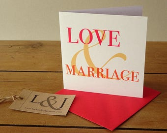 Love and marriage bride and groom marriage card, love card, wedding shower card, mr and mrs wedding card, wedding gifts couple, him and her