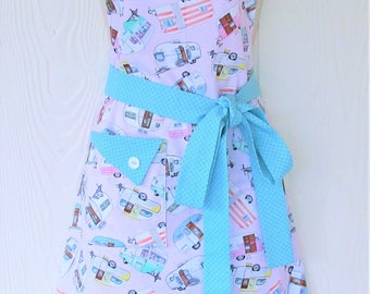 Travel Trailer Camping Apron, Retro Trailers, Vintage Campers, Motorhomes, Glamping, Retro Kitchen Apron, KitschNStyle