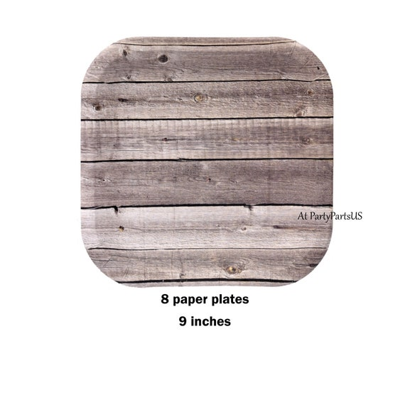 barn wood paper plates, rustic wedding tableware, barn wedding ...