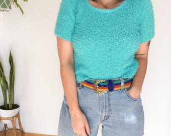 SALE! 90's fluffy crop top, turquoise crop top, sweater, winter, hairy, clueless, pastel, kawaii, club kid, festival, Christmas gift