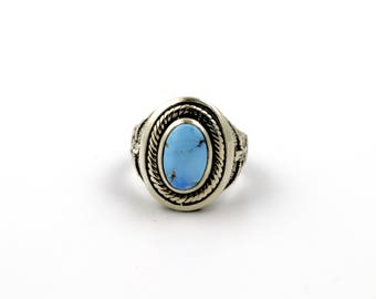 """The """"Echoes of Egypt"""" Egyptian Goddess Iset Ring w/ Robin's Egg Blue Golden Hill Turquoise by Turquoise Kingdom"""