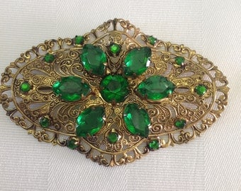 Edwardian Sash Pin or Brooch Gold with Emerald Green Glass Paste Stones and C Clasp