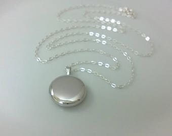 Sterling silver locket; round silver locket; simple silver locket; silver locket keepsake
