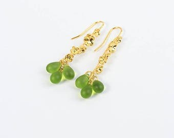 green earrings/for/women cluster earrings gold green jewelry hostess gifts/for/daughter gold earrings dangle earrings olive earrings пя190