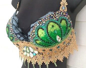 Mermaid Bra, MADE TO ORDER! Green Mermaid, Rave Bra, Shell Bra, Festival Bra, Mermaid Costume, Festival Lingerie, Edc Bra, Rave Wear