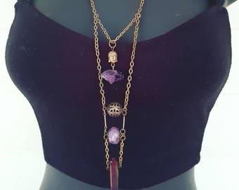 Amethyst Necklace, Crystal Necklace, Titanium Quartz, Pendant Necklace, Layered Necklace, Spiritual Jewelry, Boho Necklace, Festival Wear