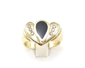 14k Yellow Gold Diamond And Black Onyx Women's Cocktail Ring Size 6 1/2