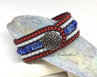 Beaded Leather, Cuff Bracelet, USA, Beaded Bracelet, Patriotic Bracelet, Leather Cuff, 5 Row Cuff, Red White Blue, Wrap Bracelet, Boho Cuff