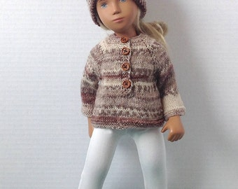 Sasha Doll Sweater - 3 Piece Outfit - Polo Style Sweater, Beanie Hat - Hippie Collection - Chocolate Crush - Organic Cotton Jersey Leggings