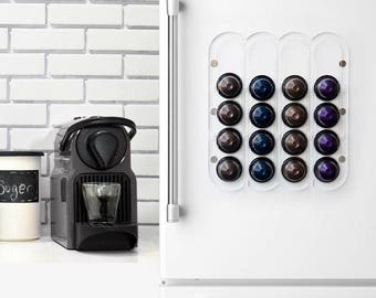 Nespresso Clear Coffee Pod Holder, Transparent Magnetic Kitchen Organizer, Coffee Pod Holder Design, Wall Mount Storage, Kitchen Decor Gift