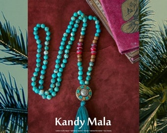 KANDY MALA necklace with Silk tassel and bone beads Imperial Jasper / Yoga Necklace