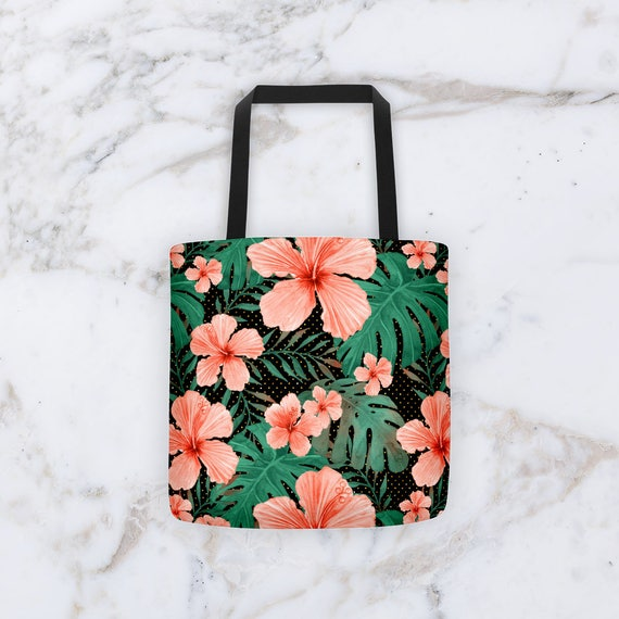 Tote Bag Hibiscus All Over Pattern Tote Bag - Made in The USA - Great Grocery Bag