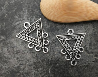 Chandelier triangle, triangle, ethnic Chandelier connector connector MULTISTRAND, silver, 25 x 20 mm