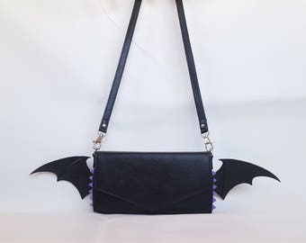 Gothic Lolita Bat Purse Wallet - Purple Spikes