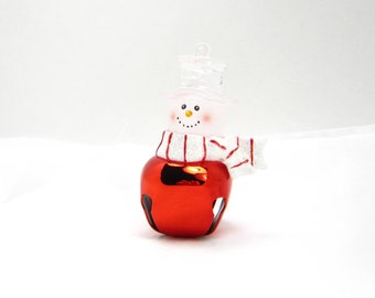 """JINGLE BELL SNOWMAN """"Frosty"""" Glass Ornament, Vintage 3D Decoration, Red Winter Scarf & Hat, Happy Holiday Gift, 3 Petunia Place"""