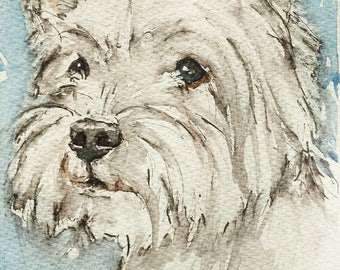 West Highland White terrier art westie original watercolour painting pet portrait, an original west highland white terrier painting