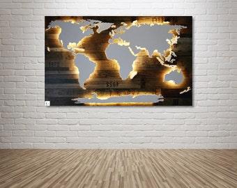 """Illuminated wooden world map - 50x30inch """"Amundsen"""""""