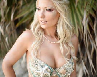 Aquamarine Sea Goddess Mermaid Bra | Rave Bra | Festival Bra | Mermaid Costume | Burlesque Bra | Belly Dance Bra | Rave Outfit