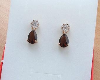 Brown drop earrings vintage wedding gift for mother of bride mother of groom statement earrings gift wife birthday teardrop earrings dangle