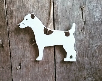 Hanging Jack Russell Terrier Decoration, Handpainted Wooden Dog Ornament, Gift for Jack Russell Lover, Gift for Dog lover, Keepsake, Memento