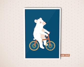 Baby Kids Newborn Nursery | Poster Illustration Art Print Decoration | Polar Bear Bicycle