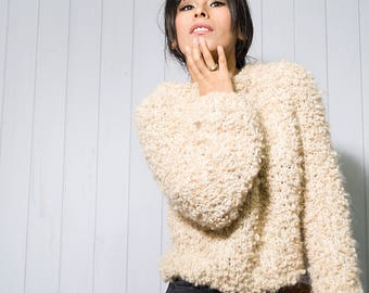 Chunky Alpaca Knit Sweater, Brown Knitted Sweater, Woman's Sweaters, Grunge Alpaca Jumper, Hand Knitted Pullover Sweater, Gift, Gift for Her