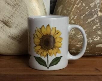 Sunflower / Sunflowers Coffee Mug Coffee Cup Vintage 12 oz Mug Cup Teacup Cordon Bleu Flower Hand Decorated Sunflowers Go Around Mug