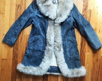 PENNY LANE 70s Style Lantry Leathers Grey Blue Genuine Suede Coat with Fur and Shearling Fall Winter Jacket Hippie Boho Gypsy Festival Rock