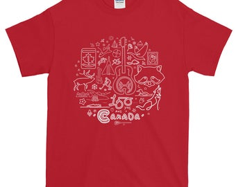 150th Year Canadiana Icons T-Shirt | Canada150 | Illustration Art Gift Tee