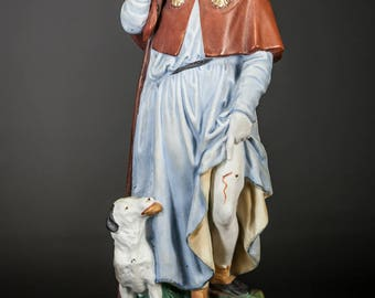 "RARE 11"" Saint Roch Antique Bisque Porcelain Statue St Rocco Figurine Rock"