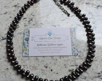 Deep Purple Fresh Water Pearl and Hematite Adjustable Necklace