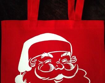 Santa Tote bag/Writing on back/Design on front