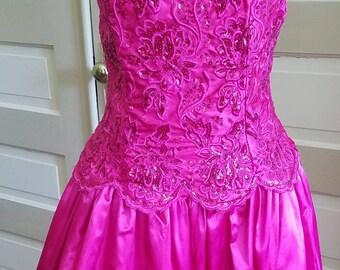 1990s 1980s Prom Dress Vintage Pink Jessica McClintock Gunne Sax