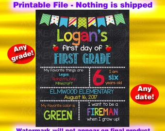 First Day Of School Chalkboard Sign, First Grade Sign, Kindergarten Sign, Second Grade, Printable Sign, Back To School Sign, Preschool Sign