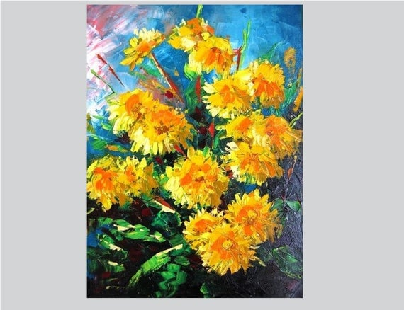 Textured painting Dandelion wall art Knife painting canvas