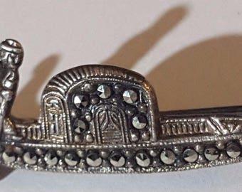 Little Art Deco .800 Silver Marcasite Venetian Gondola Brooch Pin