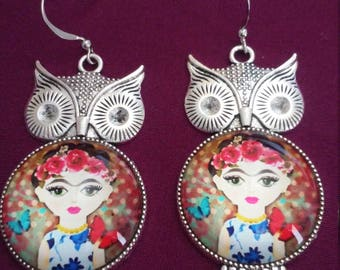 Frida Cartoon Owl Earrings