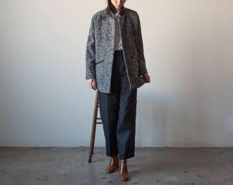 tweed short jacket / black white tweed minimalist coat / s / m / 2350o / R5