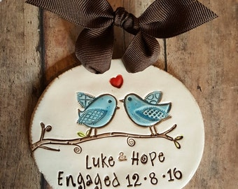Valentine, engagement gift ornament, lovebirds, personalized wedding gift, engagement gift bridal shower gift anniversary keepsake