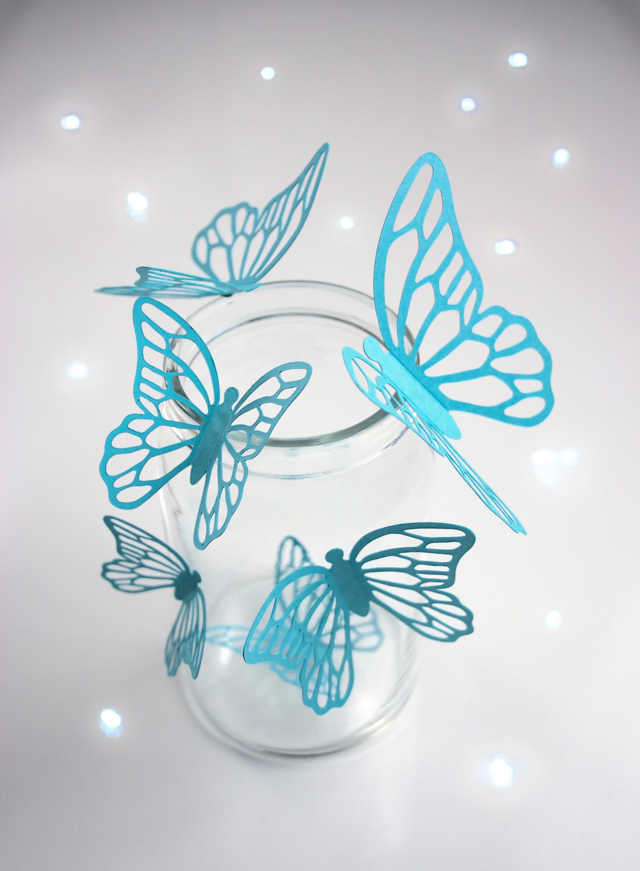 Butterfly Stickers, AQUA, Butterfly Decals, Butterfly Wall Stickers,  Butterfly 3D Stickers,