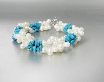 Vintage Pearl and Turquoise Bracelet Multi Strand Twisted Pearl Bracelet in Soft Ivory Cream