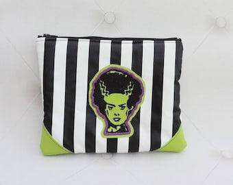 Bride of Frankenstein green  purse- creepy striped pouch-gothic - make up bag- steampunk- macabre-occult-halloween- horror movie