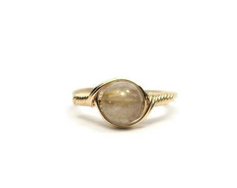 Rutilated Quartz 14k Yellow Gold Filled Custom Sized Wire Wrapped Ring