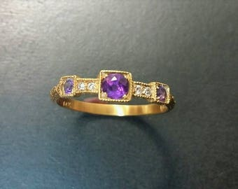 Beautiful and Unique Georgian style 14k gold band ring with amethysts and diamonds